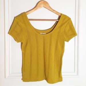 Yellow Madewell Pointelle Scoop Neck t-shirt